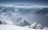 Masivul Mont-Blanc vazut de pe Dents de Morcles, Elvetia