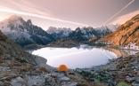 Mont Blancul vazut de la lac Blanc, Chamonix, Franta